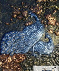 phù điêu đôi chim công, hoa mẫu đơn composite