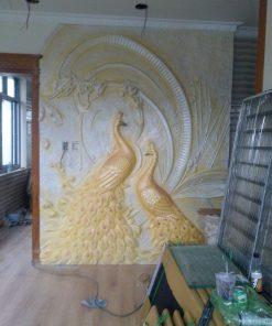 tranh phù điêu chim công lớn bằng composite
