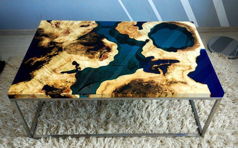mặt bàn gỗ epoxy màu xanh