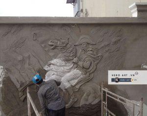 đắp tranh tường bằng xi măng