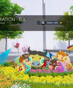 tượng gia đình trâu trang trí tiểu cảnh tết 2021