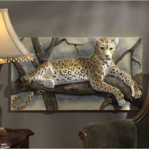 tranh phù điêu con báo đốm composite