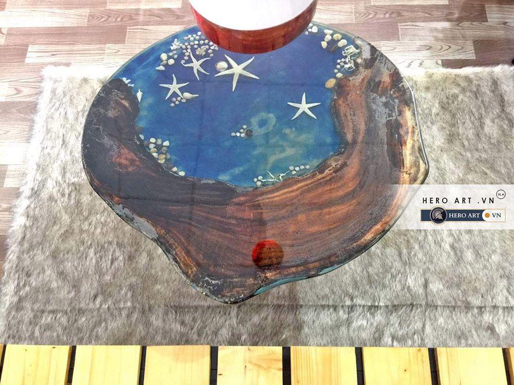 làm bàn gỗ epoxy màu xanh nước biển