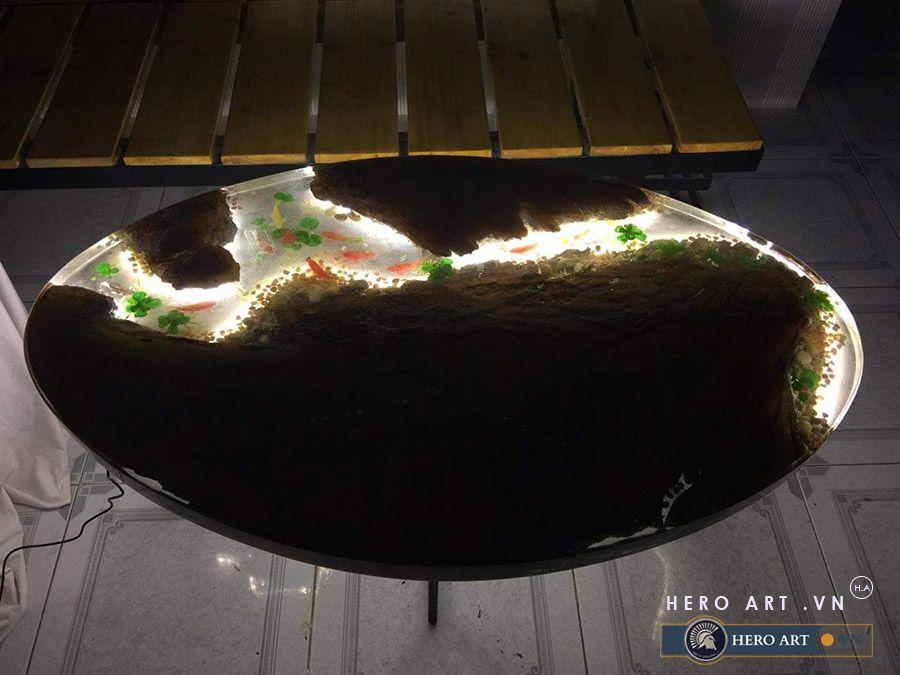 bàn gỗ epoxy thắp đèn