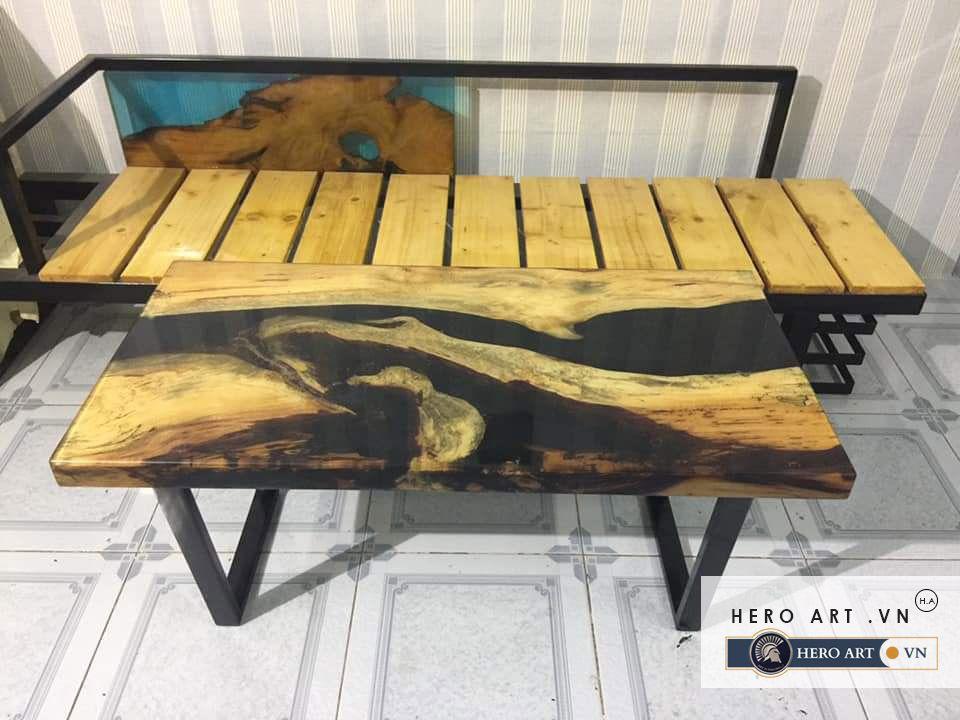 bộ bàn ghế gỗ keo epoxy