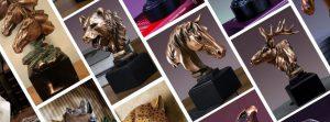 điêu khắc đầu tượng động vật đúc nhựa