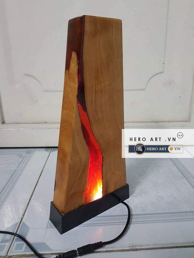 đèn gỗ nghệ thuật keo epoxy resin