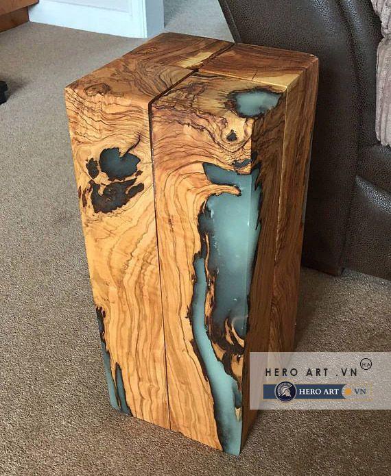 đôn bằng gỗ keo epoxy resin
