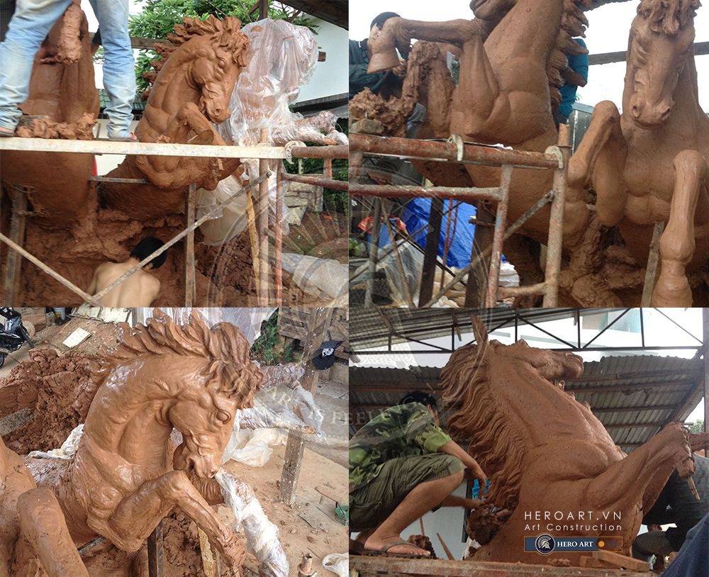 tạo bản đất sét cụm tượng ngựa