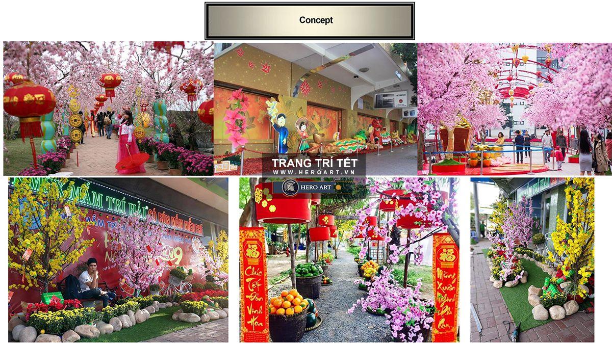 trang trí tết đường hoa, đô thị huyện xã