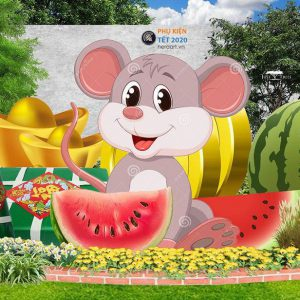 tượng chuột bằng mút xốp, tượng con giáp trang tri tết 2020