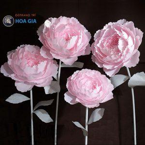 nhận làm hoa giả bằng giấy, hoa mẫu đơn