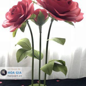 hoa hồng làm từ giấy nhún, bán hoa giả