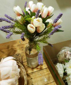 bình hoa tulip giả, lọ hoa để bàn