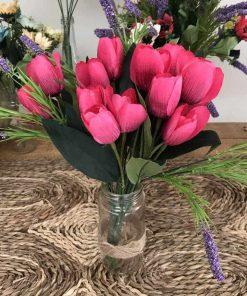 bình hoa tulip giả trang trí bàn