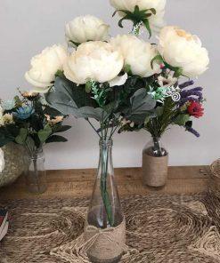 bình hoa trà giả bông lớn màu kem để bàn làm việc