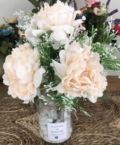lọ hoa mẫu đơn giả, hoa vải để bàn