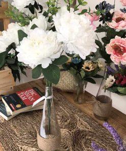 hoa mẫu đơn giả để bàn, lọ hoa vải cao cấp giá rẻ