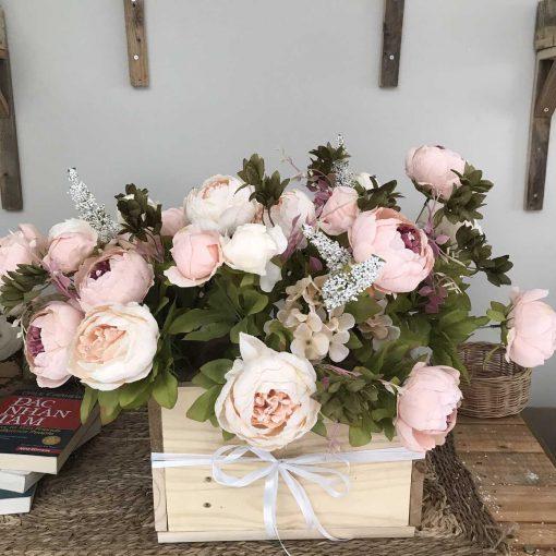 hộp gỗ hoa mẫu đơn giả cỡ lớn, hoa để bàn cao cấp
