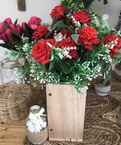 bình hoa hồng quế bằng vải, lụa hoa giả