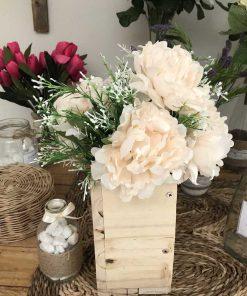 hoa vải lụa đẹp, hộp gỗ cắm hoa mẫu đơn cổ điển, hoa giả để bàn