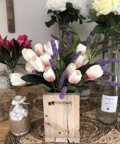hoa vải, lụa cao cấp, bình hoa gỗ hoa tulip giả