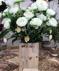 bình hoa trà bằng vải, hoa giả để bàn đẹp