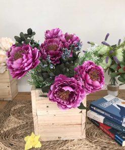 hoa vả cao cấp, hoa giả trang trí bàn, hộp hoa trà