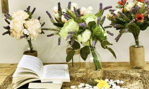shop hoa giả, sản xuất hoa giả để bàn làm việc
