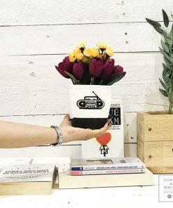 chậu hoa giả để bàn hoa cắm sẵn