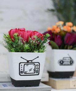 hoa giả chậu hoa cắm sẵn ía rẻ