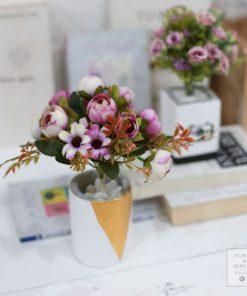hoa giả chậu hồng cổ điển đẹp