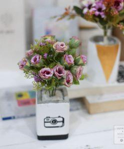 hoa giả chậu hoa bằng xi măng