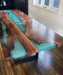 bàn ăn epoxy chữ nhật