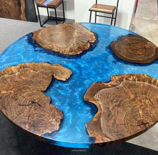 bàn gỗ me tây đổ keo epoxy