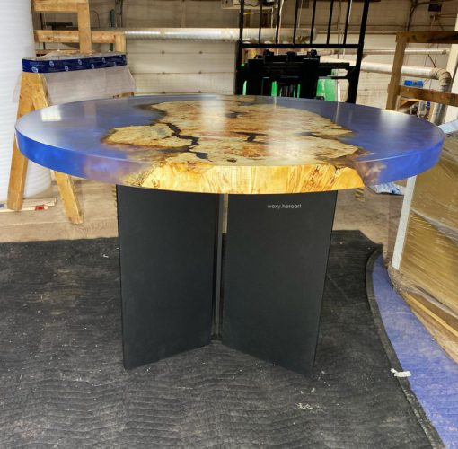 bàn tròn epoxy gỗ nu cao cấp