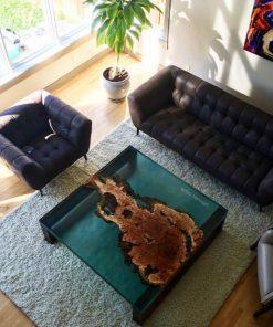 bàn trà keo epoxy trang trí phòng khách